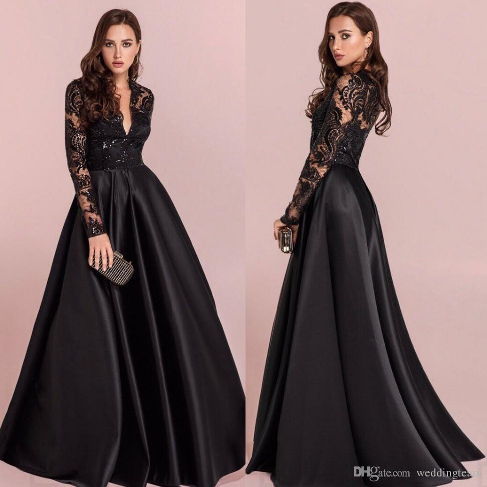 6ac5d75125 Hot Sale Black Lace Prom Dresses With Long Sleeves V Neck Sequined Evening  Gowns Vestidos De Fiesta Floor Length Satin Formal Dress Lime Green Prom  Dresses ...