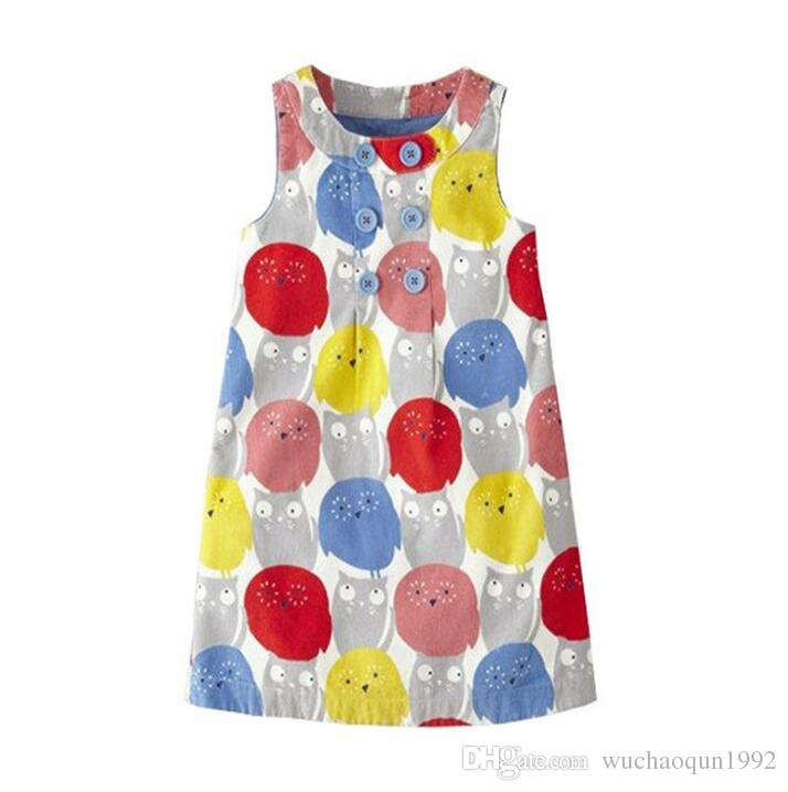 2018 Hot Sale Summer 100% Cotton Dresses Kids Dress Jersey Baby Girl Dress for Kids Clothing Baby Girl Clothes BY0157
