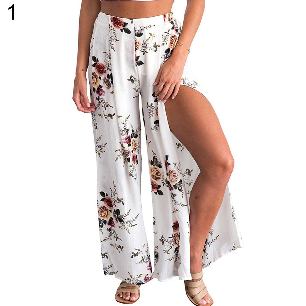 557db894cf Compre Verão Feminino Elegante Praia Culottes Palazzo Maxi Saia De Cintura  Alta Floral Impressão Larga Perna Calças Soltas Calças Divididas 2018 Novo  De ...