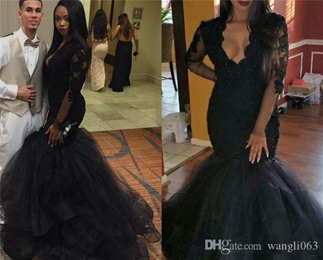 c4f42c497e89e 2018 Black Lace Mermaid Prom Dresses Sexy Plunging V Neckline Evening Dress  Graduation Gowns Long Sleeve Women Formal Evening Gowns