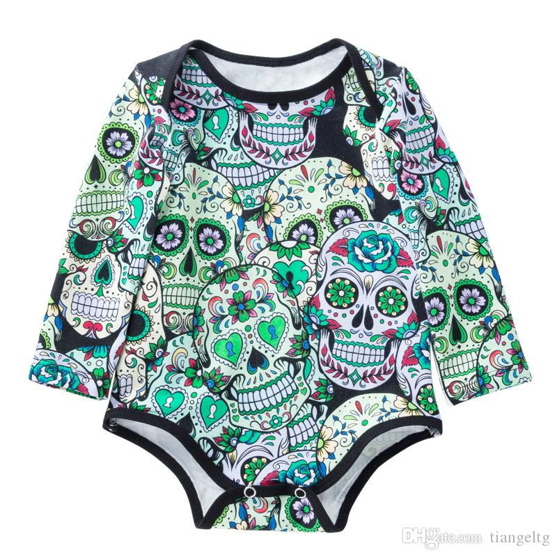 35c140f09da7 Baby Girls Halloween Rompers Newborn Multicolored Human Skulls ...