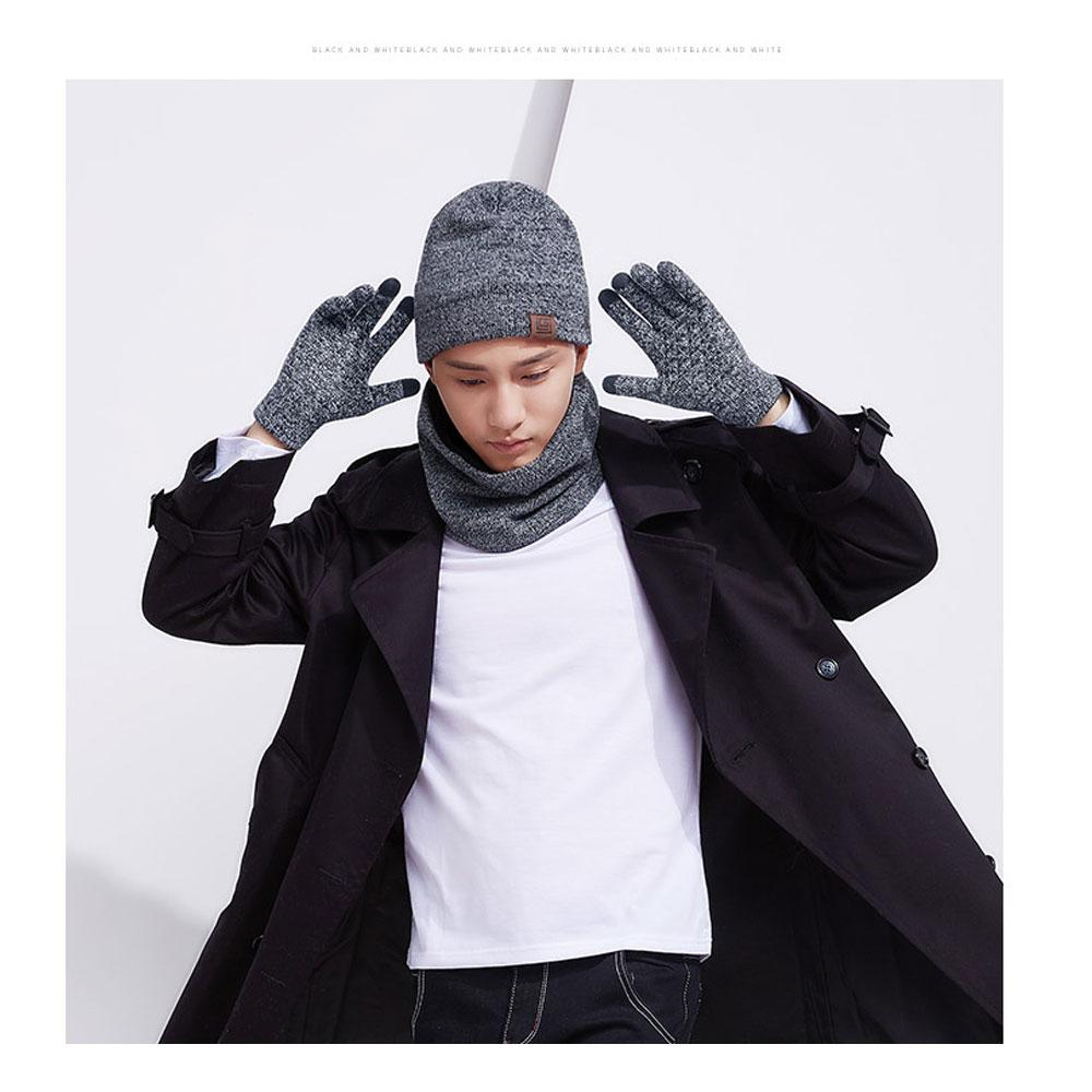 0727a4e188f5ab Knitted Hat Glove Scarf Set Winter Thick Warm Snug Knit Velvet ...