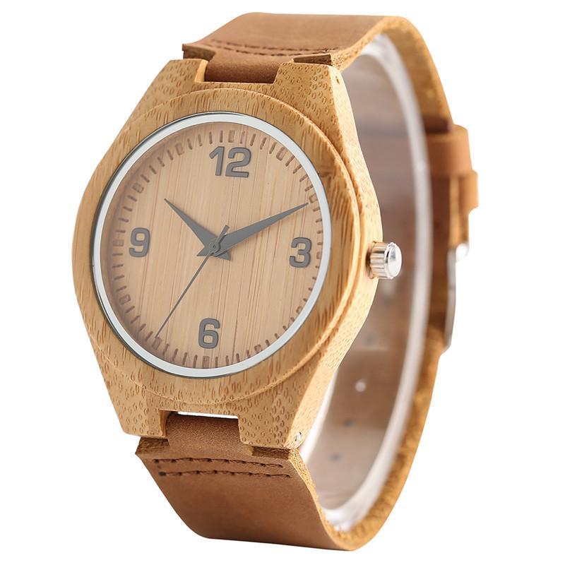 c14e22f52eb4 Compre 100% Caja De Bambú Hombres Reloj De Pulsera De Peso Relojes  Creativos De Madera 2018 Nueva Correa De Cuero Genuino Reloj De Hombre  Casual Regalos De ...