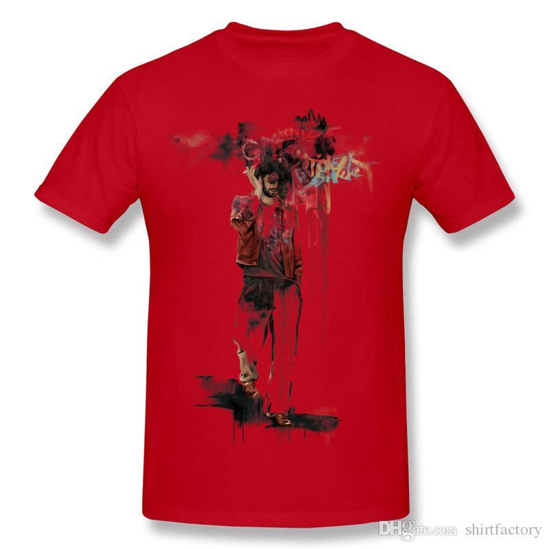 믹스 오더 남성 퓨어 코튼 그라피티 맨 T 셔츠 남성 O 넥 블루 반소매 티셔츠 플러스 사이즈 클래식 T 셔츠