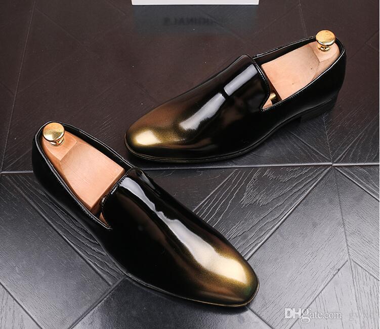2018 neue stil europäischen stil handgemachte abbürsten leder schuhe männer formale schuhe slip auf büro business hochzeit anzug kleid loafers g38