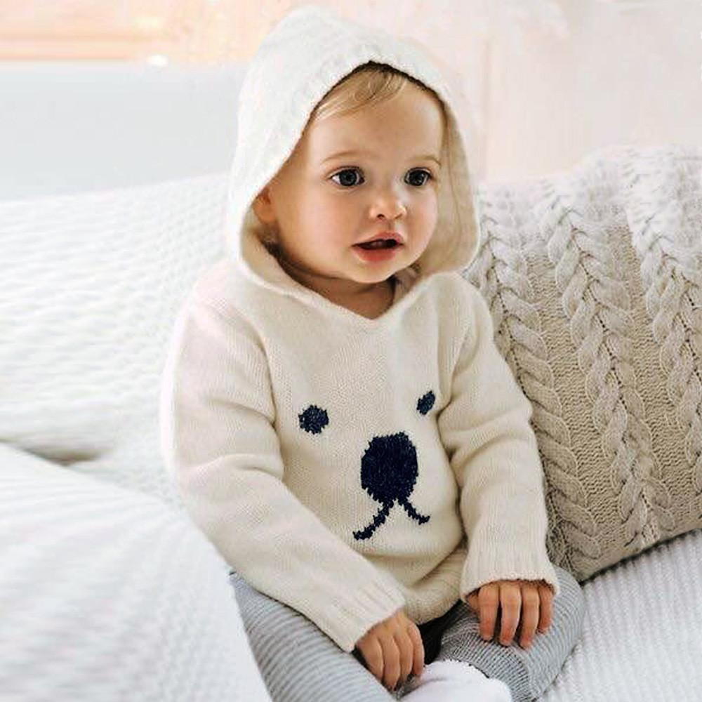 de61c6fa97e6 Autumn Cute Animals Pattern Sweater For Baby Newborn Infant Baby Boys Girls  Cartoon Bear Knitted Hooded Tops Sweater Outfits Baby Cardigan Sweater  Knitting ...