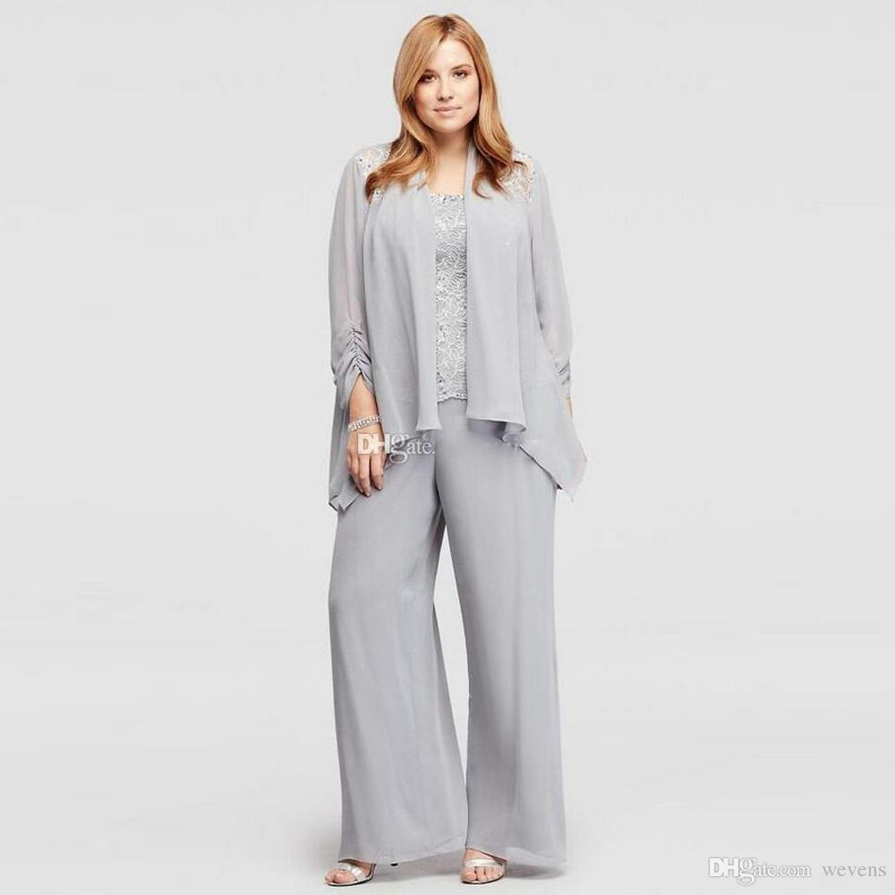 Gray Mother Of the Bride Pant Suits Spaghetti Strap Lace And Chiffon Women's Outfit Plus Size Ladies Summer Casual Clothes