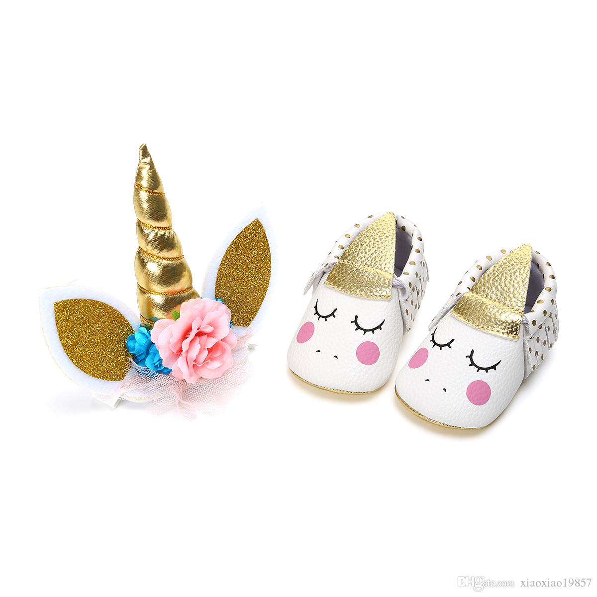 2 pezzi Set Cute Baby Girl nappa Crib Shoes + Unicorn Horns Cake Topper Decor Neonato Prewalker Halloween Birthday Party regalo
