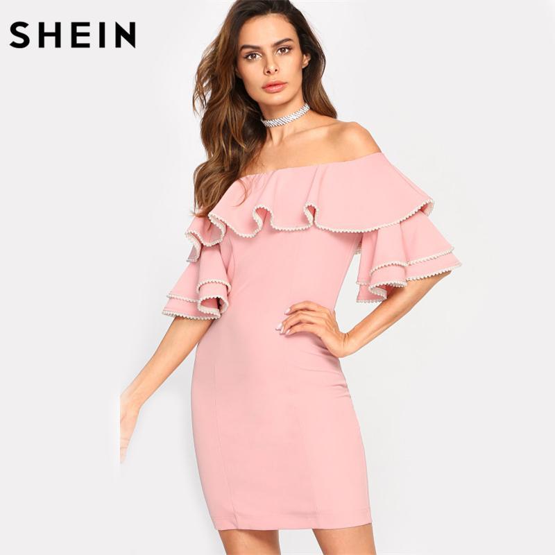 Großhandel Shein Tiered Trompete Ärmel Volant Bardot Kleid Pink Aus ...