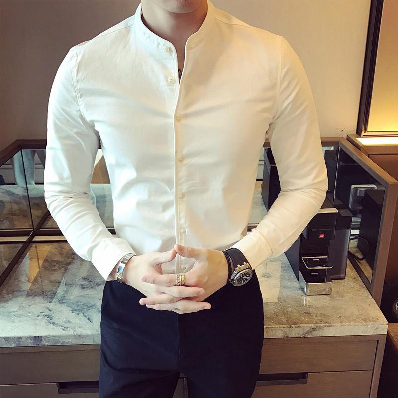 2967350c4d Camicia Uomo Manica Lunga Camicia Nera Camicia Uomo Slim Fit Camicia  Colletto Uomo Camicia Uomo Fashion Marchio hombre camisa masculina