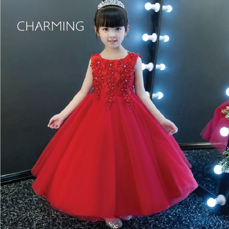 badf916e9 Compre Vestido Para Niña En Color Rojo Vestido De Novia Floral En 3d Vestido  De Tul Vestido De Niña Con Cuentas Vestidos De Fiesta A  92.05 Del  Dressdesign ...