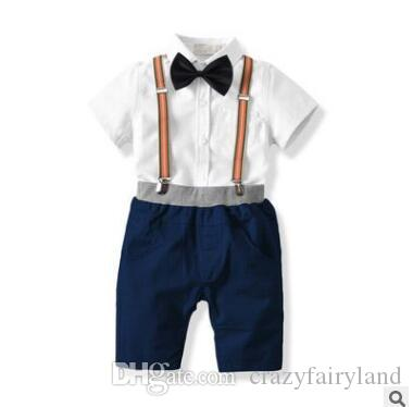 1a229f238754 Boy Clothes Outfits 2018 Summer Cotton Short Sleeve Newborn Baby Infant  Clothing Sets Gentleman Bow Tie Shirt Tops Suspender Shorts 6M-6Y