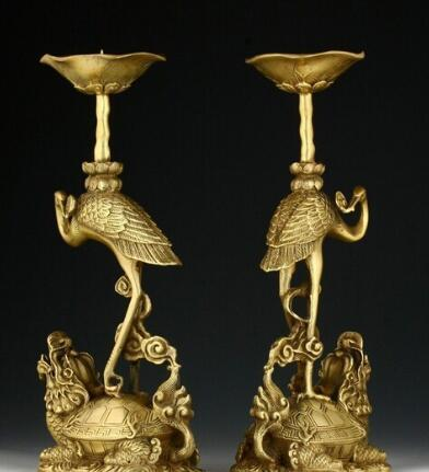Collectable Ha Pair Of Oriental Chinese Carved Copper Candle Stick-crane Statue fast Shipping
