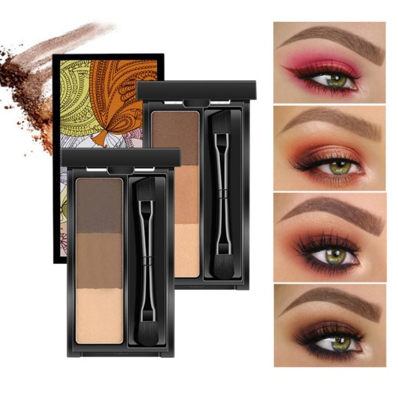 5a1bcd55abe8 Professional Makeup 3 Color Eye Shadow Eye Brow Makeup Eyebrow Powder with  Brush maquiagem