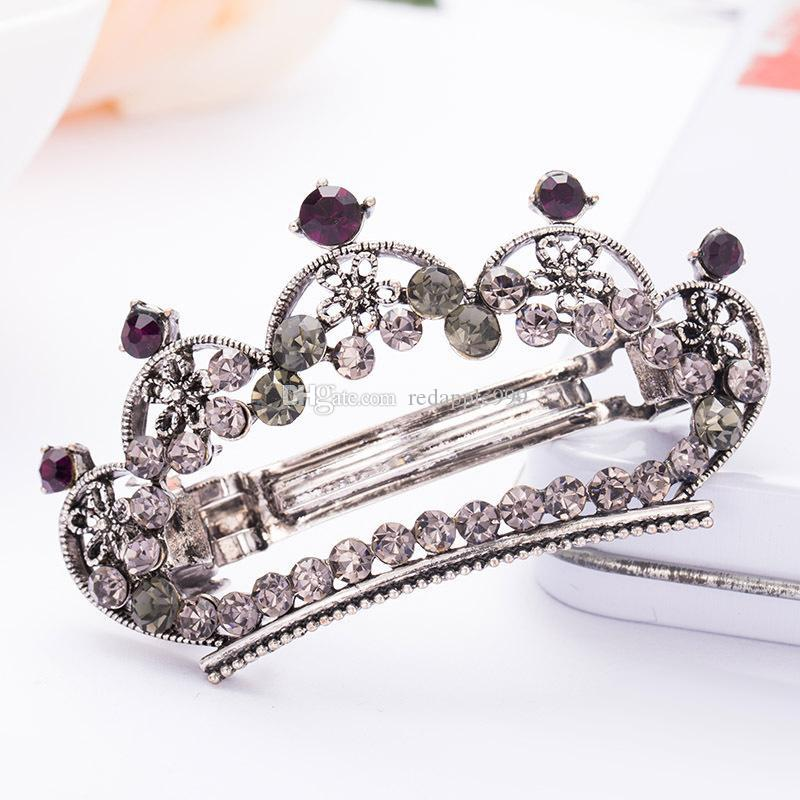 Vintage Purple Crystal Rhinestones Heart Leaf Hairpin Clip Hair Barrette Fashion Clips Hair Jewelryclips Hair Accessories