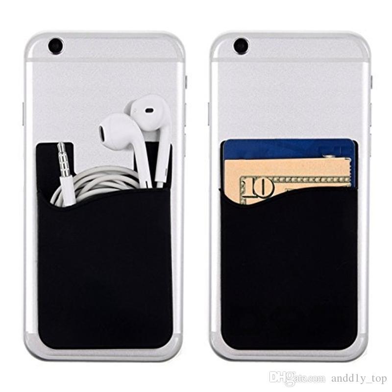 Estuche para teléfono celular de silicona Estuche para billetera de teléfono Titular de tarjeta de identificación de crédito Palo de bolsillo en adhesivo 3M con bolsa OPP