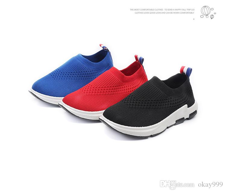 Brand New arrival Spring autumn Fly knitting kids Socks shoes Breathable Boy gril casual shoes elastic Mesh SLIP-ON children's running shoes