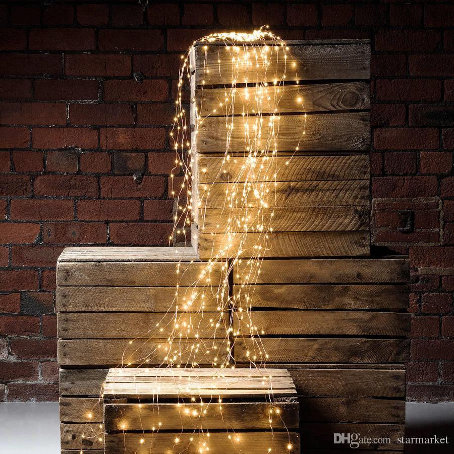 Led Weihnachtsbeleuchtung Baum.200 Led Wasserfall Lichterketten Für Baum Fenster Patio Weihnachtsbeleuchtung Garland Kupferdraht Führte Weit Licht Baum Wein Lampen