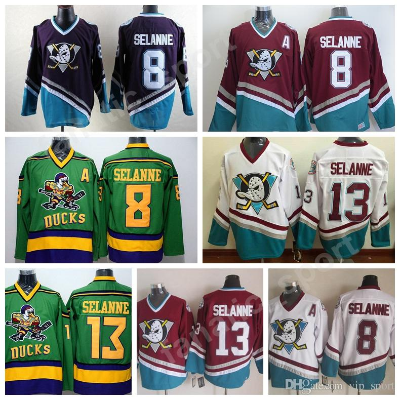 cheap for discount f18ac e8b14 Hot Selling 8 Teemu Selanne Jerseys Anaheim Mighty Ducks Selanne Jersey For  Sport Fans Vintage Stitched Purple White Black Red