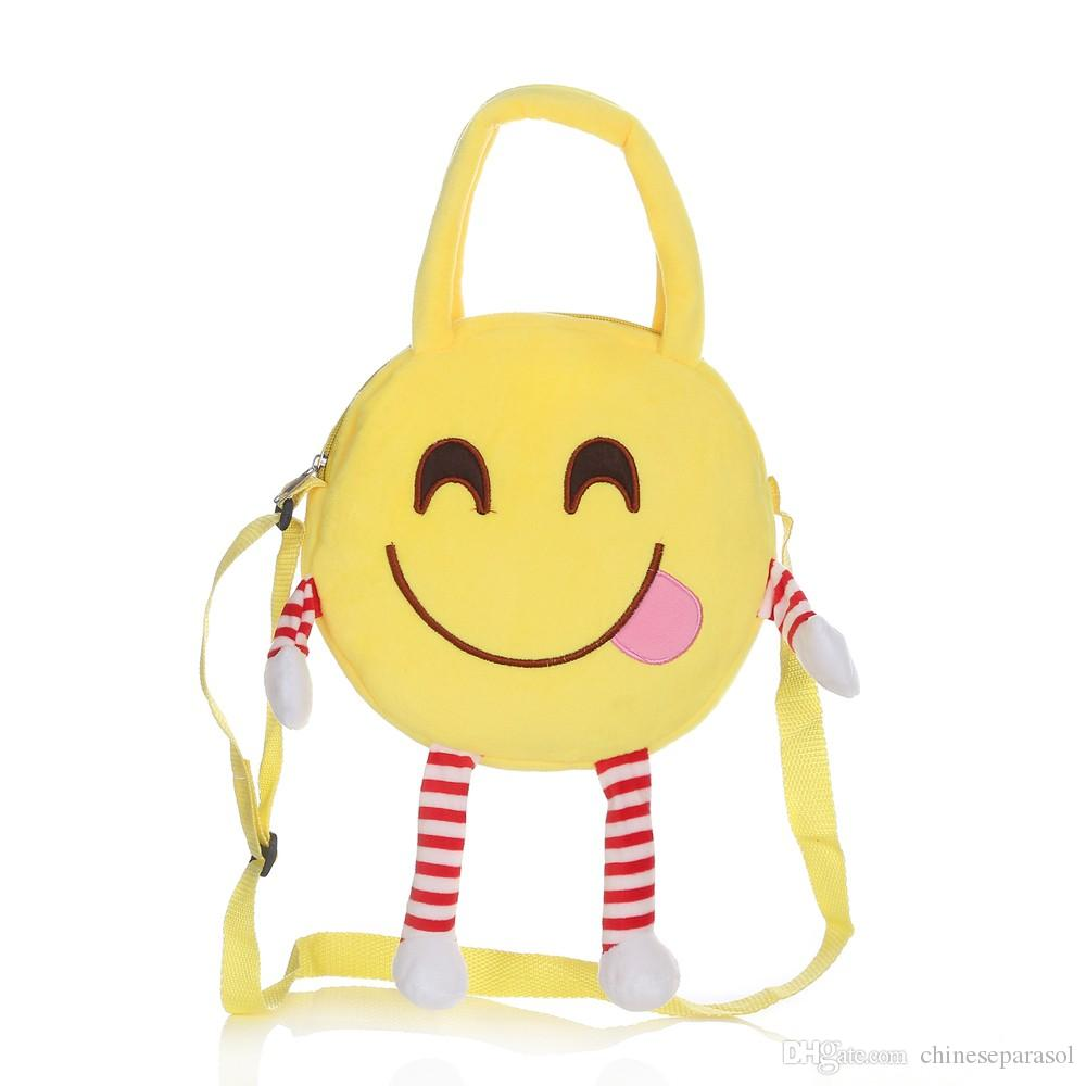 f422f5d4a4c9 Cute Emoji Emoticon Shoulder Bag Backpack Satchel Lovely Plush Toy ...