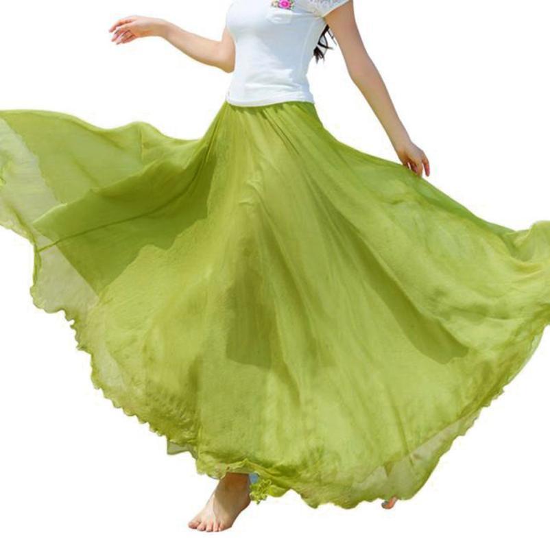 Compre Faldas Largas Para Las Mujeres Cintura Elástica Gasa Larga Maxi Gris  Falda De Playa De Gasa Falda De Playa De Gasa Faldas Largas Elegantes A   30.9 ... 5af7bada1e42