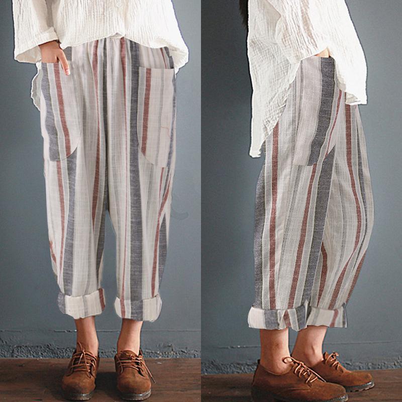 S-5XL Kadınlar Yaz Şerit Yüksek Bel Harem Pantolon Artı Boyutu Pamuk Femme Retro Casual Gevşek Baggy Uzun Pantolon Rahat Ince Pantolon