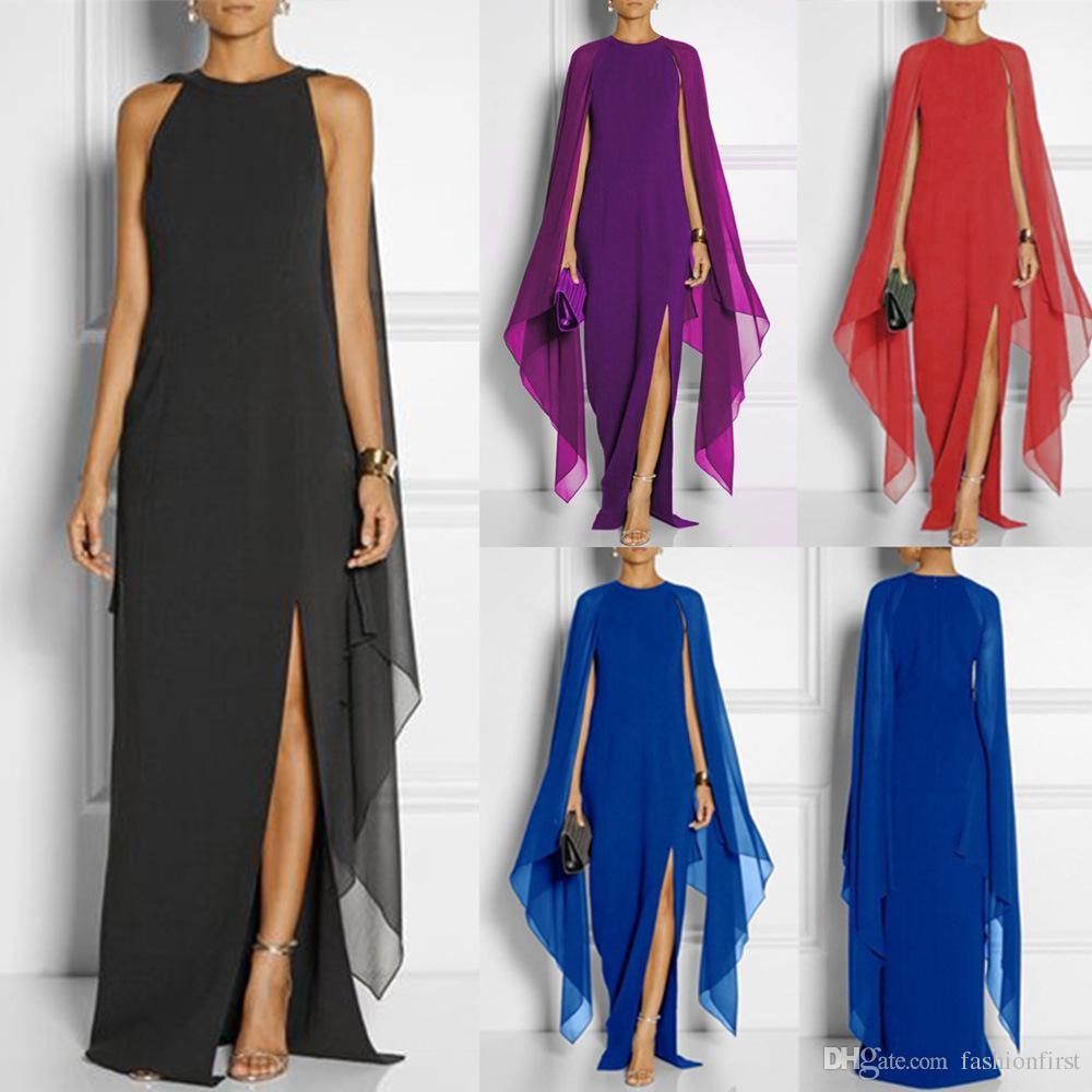 Cape Sleeve Chiffon Dress for Queen Girl Lady Women Wear Office ... d7efe002c