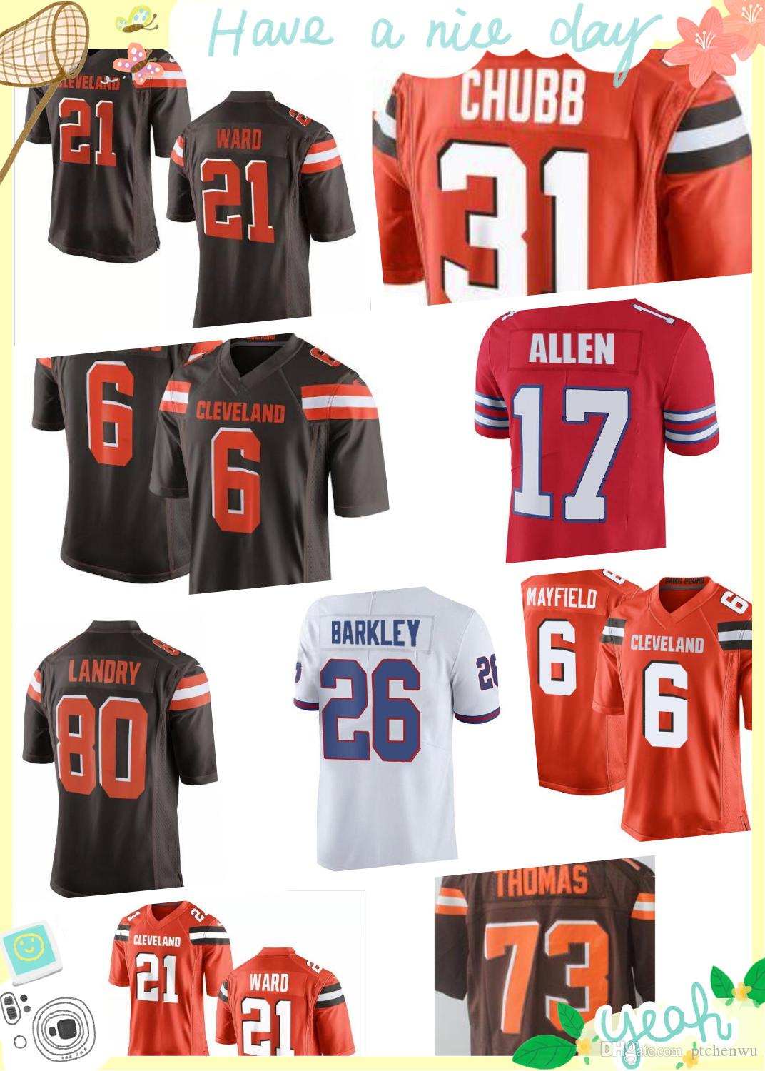42a40604 ... czech 2018 new 6 baker mayfield cleveland browns 80 jarvis landry 21  denzel ward jerseys mens