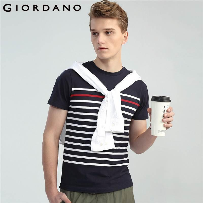 d6b0b687775c Giordano Men Striped Tshirt Casual Summer Tops For Men 2018 Camisetas  Hombre Ribbed Crewneck T Shirt Tee Shirt Homme Crazy T Shirt Design Comedy T  Shirt ...