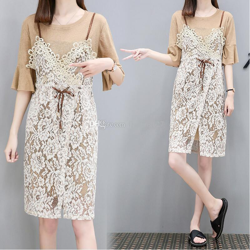 1a0ce1e8c Sweet Lady Style Clothes Summer Clothing Sets T-shirt Dress +Strap Dress  two piece Sets women's Outfits Clothing
