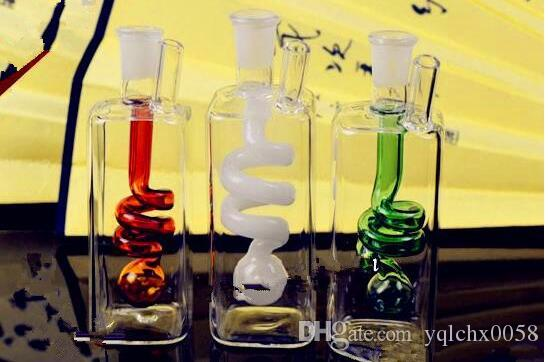 Square inner spring water bottle Wholesale Glass bongs Oil Burner Glass Water Pipes Oil Rigs Smoking Free