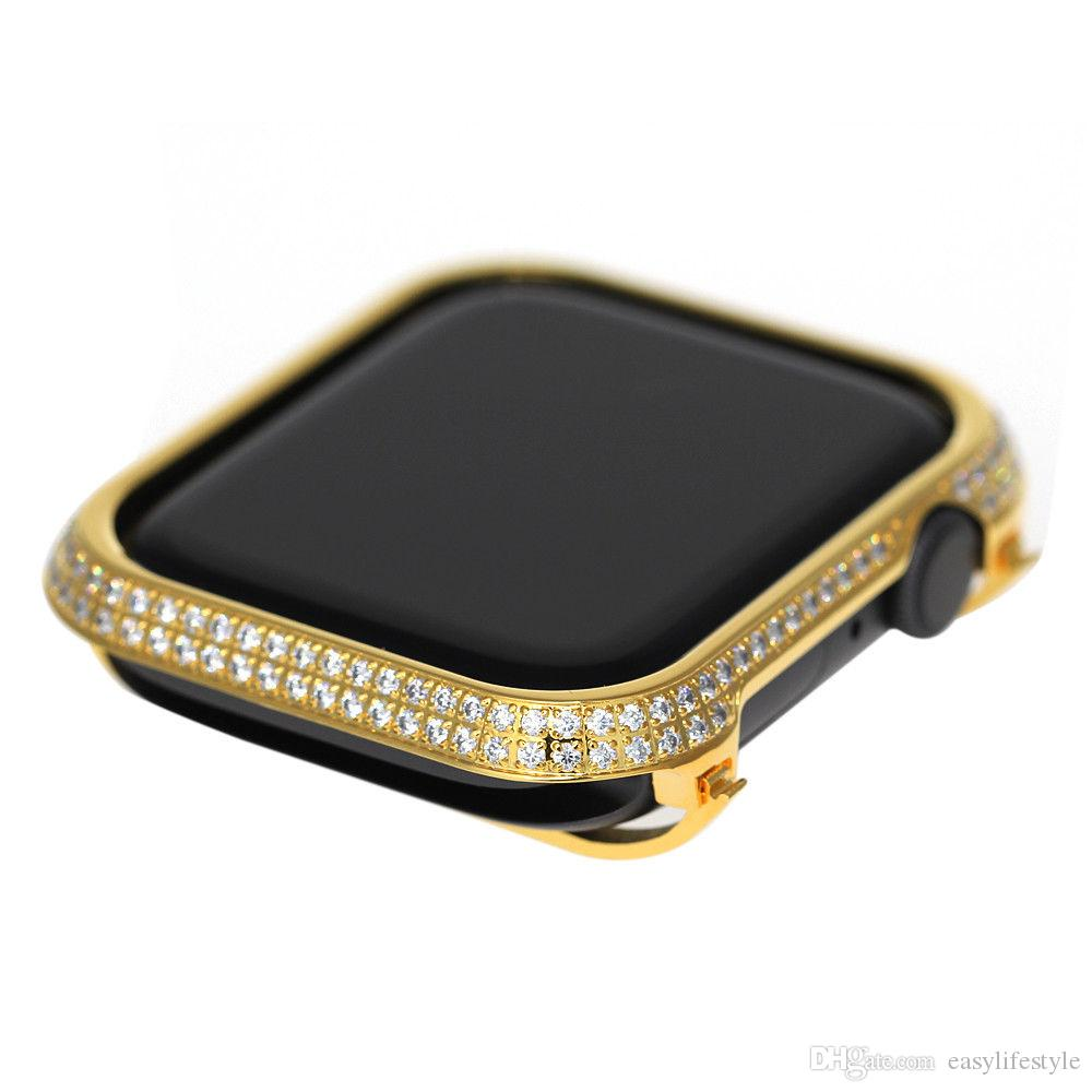best sneakers df75d 8e947 for Apple Watch series 4 rhinestone diamond case zircon crystal bezel smart  watch protective cover 40mm 44mm