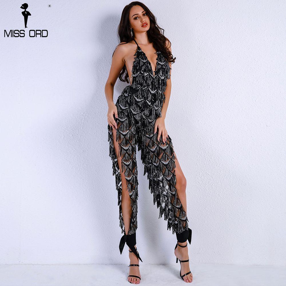 2019 Missord 2018 Women Sexy Off Shoulder Deep V Sequin Rompers Playsuits  Elegant Backless Overalls Split Halter Jumpsuit FT9186 From Wangleme011 35706c894b4e