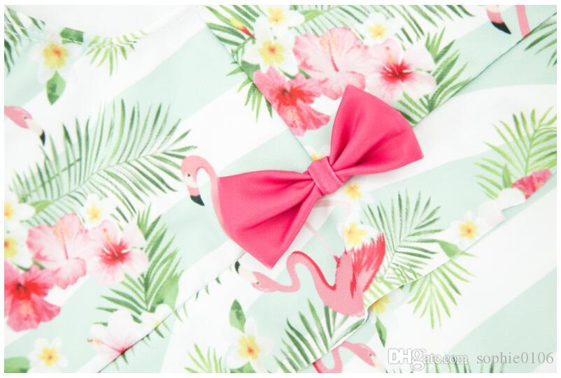 Girl Summer Flamingo Swimsuit One Piece Baby Polyester Swimwear Kids Summer Swim Clothes Baby Clothing AM 005