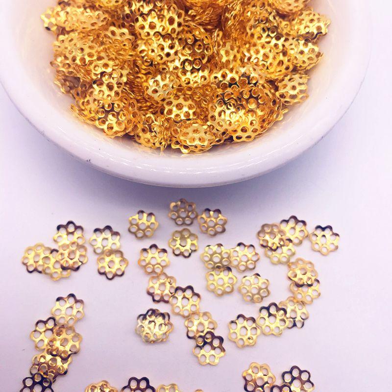Conclusions de fleurs creuses perles d'extrémité de cône Cap en filigrane fabrication de bijoux de bricolage / set 6mm