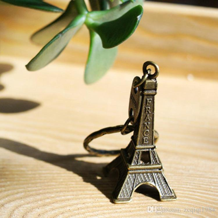جديد كول ريترو فرنسا باريس برج ايفل نموذج لطيف البسيطة حقيبة السيارة المفاتيح كيرينغ الموجودة ل عاشق للجنسين
