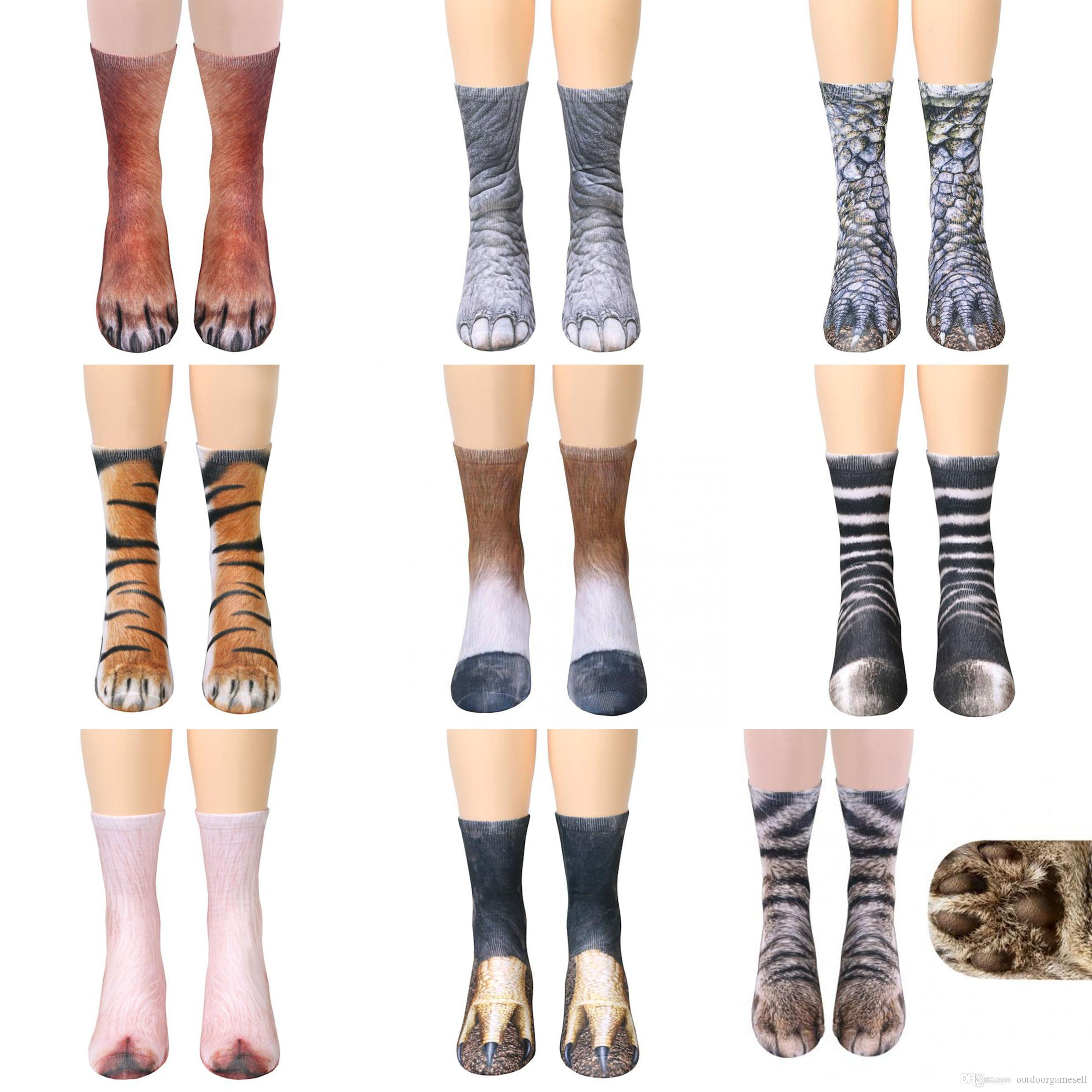 adults animal Paw feet socks Unisex Adult Animal Crew Socks 3d print sports socks children digital printing simulation