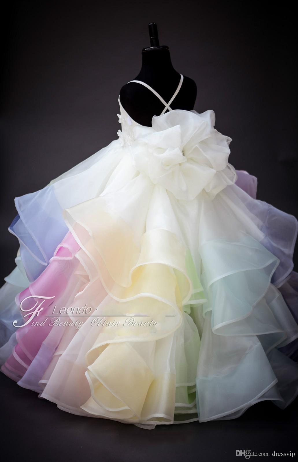 2020 귀여운 무지개 꽃의 소녀 드레스 레이스 3D 꽃 새해 페르시 계층 영성체 드레스 스파게티 댄스 파티 드레스 파티 저녁 착용