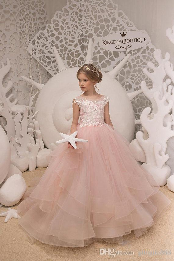 Beautiful Girls Dress For Wedding White Beaded Flower Girl Dresses Jewel Neckline Floor Length Lovely Princess Girls Pageant Party Gowns