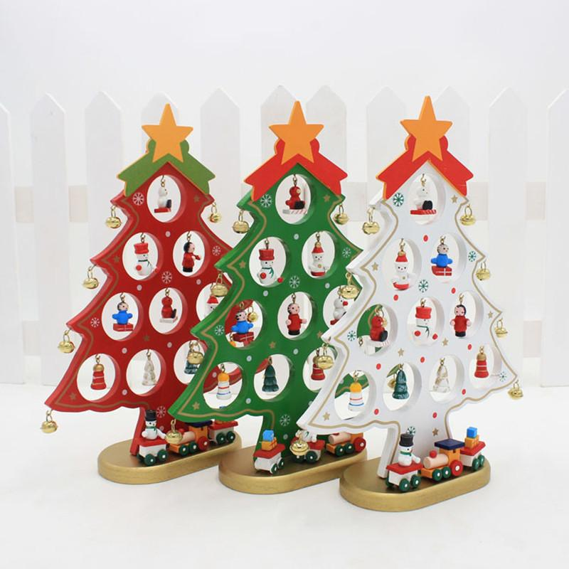 mini christmas tree wooden artificial diy cartoon craft party decorations ornaments xmas ideal for home offices table top christmas decorations traditional - Mini Christmas Decorations