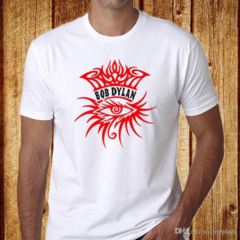 50e55734c3bff Custom Shirts Online Design Crew Neck Bob Dylan And The Band  Eye Logo  Men S White T Shirt Sizes S To 3XL New Best Tee Shirt Sites Online Funky T  Shirts ...