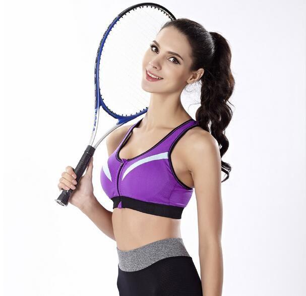 285f2f5d976 Acheter Femmes Zipper Antichoc Running Gilets Gym Fitness Sports Bras