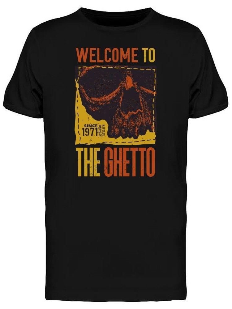4e47a455 Retro Welcome To The Ghetto Men's Tee -Image by Shutterstock Cartoon t shirt  men Unisex New Fashion tshirt