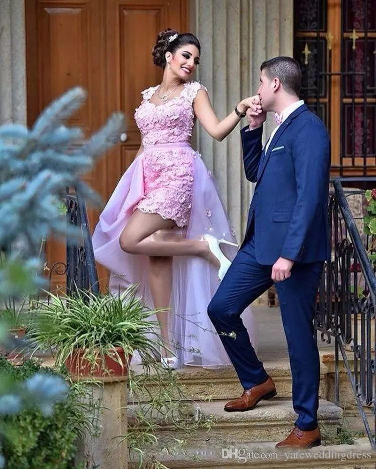 2018 Light Pink Scoop Neck Line Prom Gowns With Applique Sleeveless Evening Dresses Sheer Back With Detachable Train Custom Made Vestidos