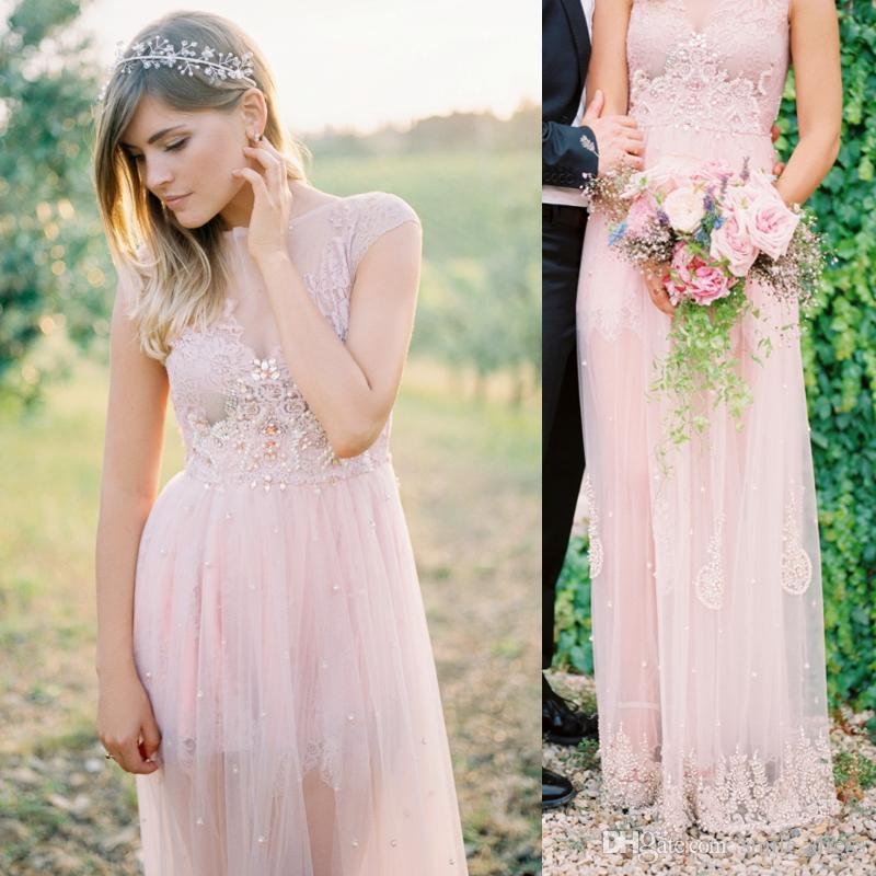 Discount Blush Pink Beach Wedding Dresses Boho Lace Crystals See