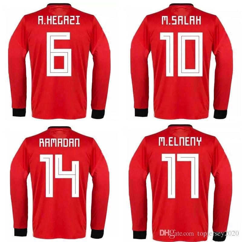 b195120b7b5 Thai 2018 World Cup Egypt Long Sleeve Soccer Jerseys 2019 M. SALAH ...