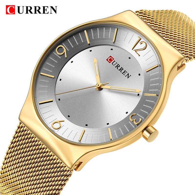 New Curren Men Quartz Watch Top  Gold Stainless Steel Business Mens Watches Male Sport Clock Relogio Masculino