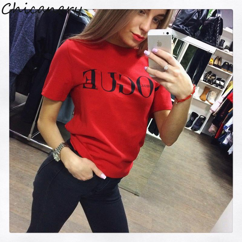 be96415c69082 Chicanary 2017 Brand Summer Tops Fashion Clothes Women VOGUE Letter ...