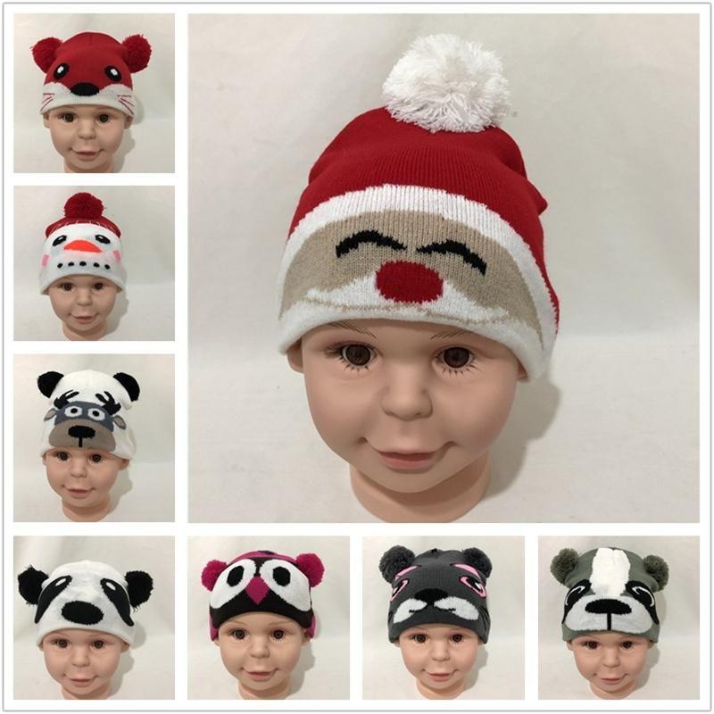 cc871162bee 2019 Baby Cartoon Animal Knit Caps Panda Bear Dog Fox Owl Deer Santa Claus  Snowman Design Warm Kids Fur Ball Cap Infant Winter Hats From Kids show