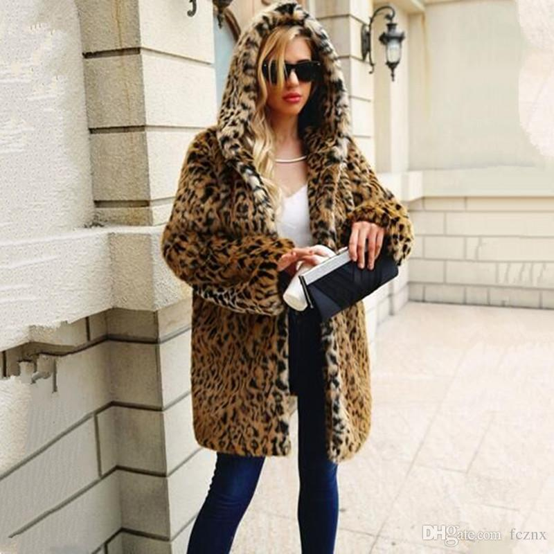 db2f5481f814 2019 2018 Women Clothing Long Sleeve Hooded Leopard Faux Fur Jacket Thick Warm  Winter Coat Female Fashion Casual Loose Imitation Fur Coat F0036 From  Fcznx, ...
